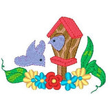 Birdhouse machine embroidery design by sweetstitchdesign.com