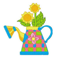 Watering can machine embroidery design by sweetstitchdesign.com
