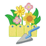 Fenced garden machine embroidery design by sweetstitchdesign.com