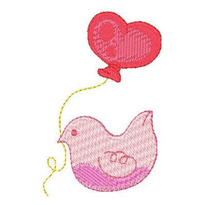 Bird with balloon machine embroidery design by sweetstitchdesign.com
