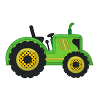 Green Tractor applique machine embroidery design by sweetstitchdesign.com