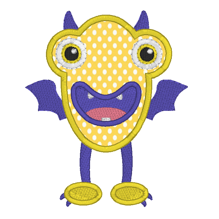 Monster applique machine embroidery design by sweetstitchdesign.com