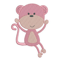 Baby monkey machine embroidery design by sweetstitchdesign.com