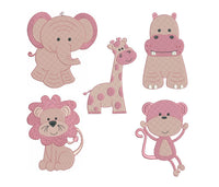 Pink jungle animal machine embroidery designs by sweetstitchdesign.com