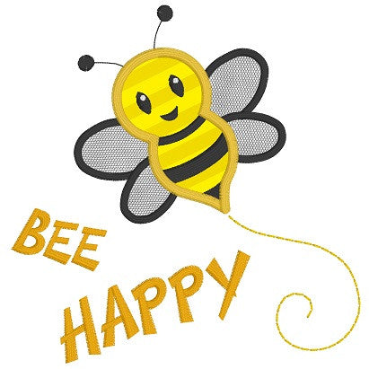 Bee Happy applique machine embroidery design by sweetstitchdesign.com