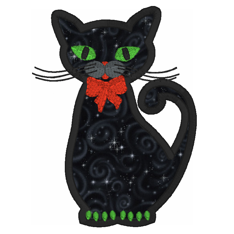 Halloween cat applique machine embroidery design by sweetstitchdesign.com
