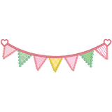 Applique bunting machine embroidery design by sweetstitchdesign.com