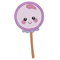 Kawaii lollipop applique machine embroidery design by sweetstitchdesign.com
