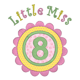 Girl's 8th birthday applique machine embroidery design by sweetstitchdesign.com