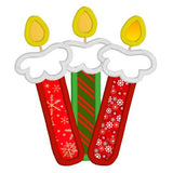 Christmas candles applique machine embroidery design by sweetstitchdesign.com