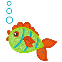Colorful fish applique machine embroidery design by embroiderytree.com