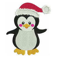 Christmas penguin machine embroidery design by sweetstitchdesign.com