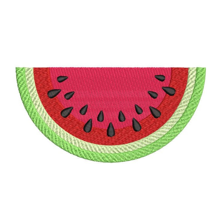 Watermelon slice machine embroidery design by sweetstitchdesign.com