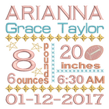 Baby birth announcement -custom embroidery design by sweetstitchdesign.com