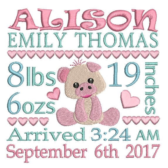 Baby Birth Announcement - Customised (S509-85)