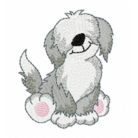 Sheepdog puppy fill stitch machine embroidery design by sweetstitchdesign.com