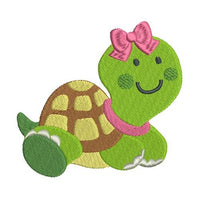 Cute girl turtle machine embroidery design by sweetstitchdesign.com
