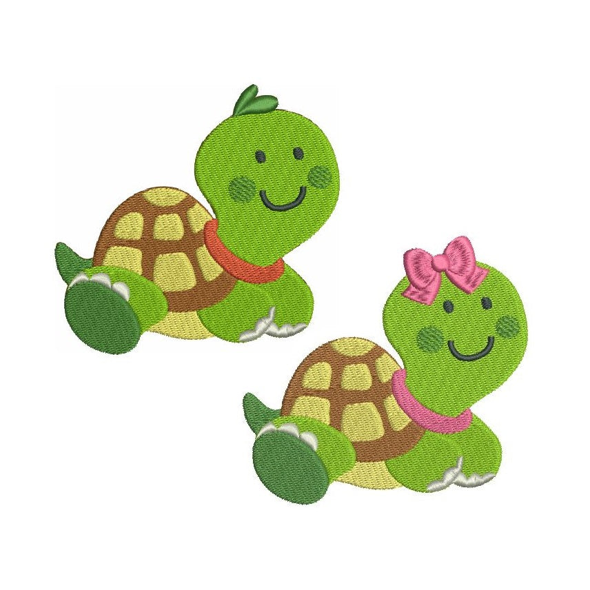 Cute baby turtle machine embroidery designs by sweetstitchdesign.com