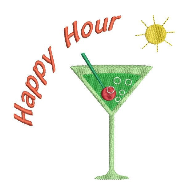 Happy hour martini machine embroidery design by sweetstitchdesign.com