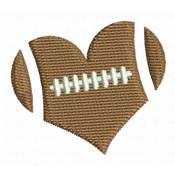 Heart shaped football machine embroidery design by sweetstitchdesign.com