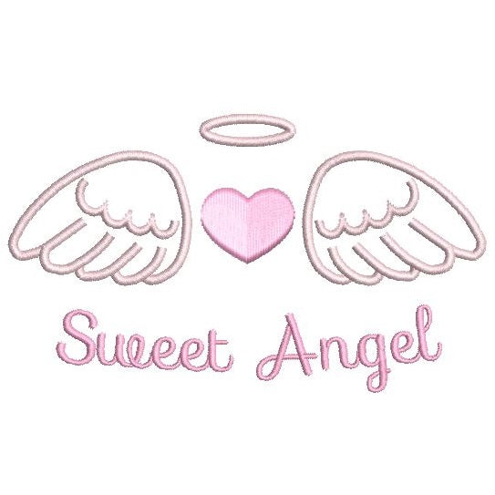 Angel wings with a heart machine embroidery design by sweetstitchdesign.com