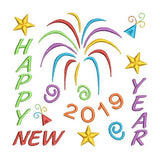 Happy New Year 2019 embroidery design by sweetstitchdesign.com