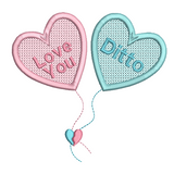 Valentine's Day heart balloons machine embroidery design by sweetstitchdesign.com