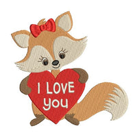 Valentine's Day fox machine embroidery design by sweetstitchdesign.com
