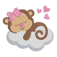 Sleeping baby monkey machine embroidery design by sweetstitchdesign.com