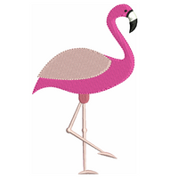 Pink flamingo machine embroidery design by sweetstitchdesign.com