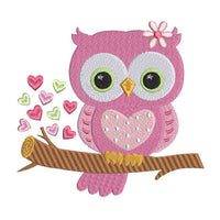 Valentine's Day owl machine embroidery design by sweetstitchdesign.com