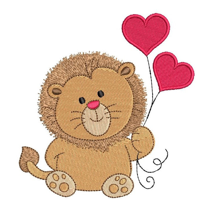 Valentine's Day lion machine embroidery design by sweetstitchdesign.com