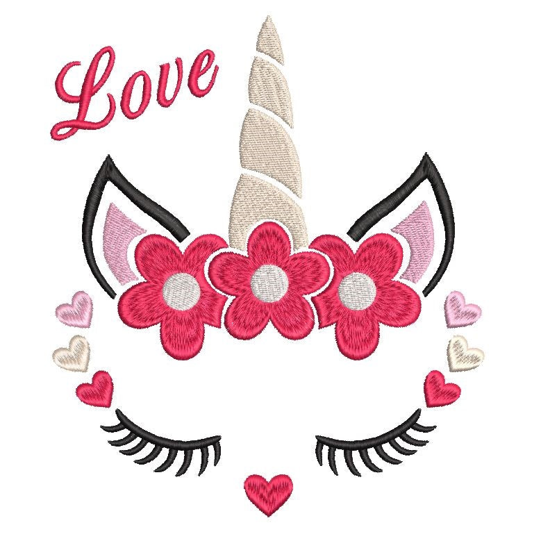 Valentine's Day unicorn machine embroidery design by sweetstitchdesign.com