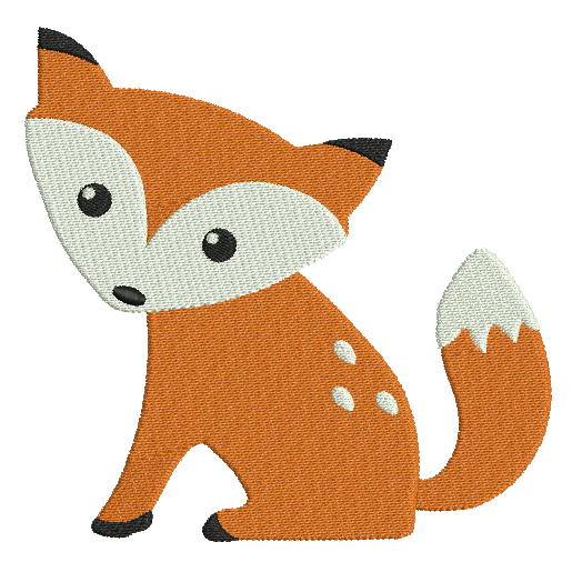 Baby fox machine embroidery design by sweetstitchdesign.com