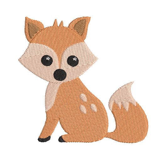 Cute baby fox machine embroidery design by sweetstitchdesign.com