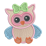 Baby girl owl fill stitch machine embroidery design by sweetstitchdesign.com