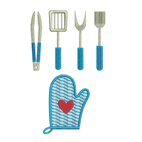 Mini kitchen utensils set of machine embroidery designs by sweetstitchdesign.com