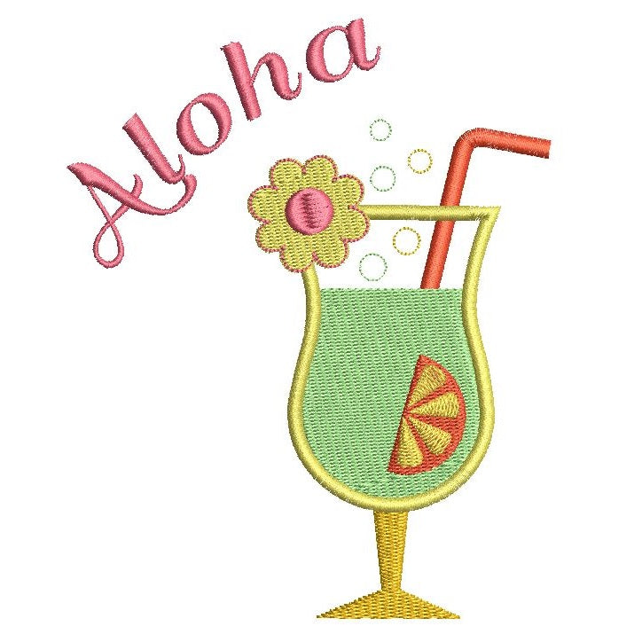 Tropical cocktail machine embroidery design by sweetstitchdesign.com