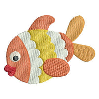 Cute mini fish machine embroidery design by sweetstitchdesign.com