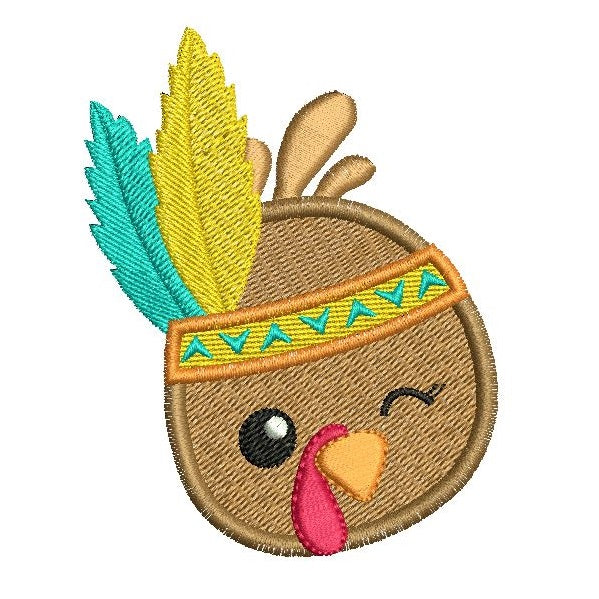Thanksgiving turkey machine embroidery design by sweetstitchdesign.com