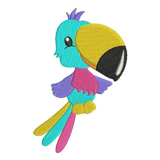 Tropical toucan machine embroidery design by sweetstitchdesign.com