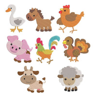 Mini farm animal machine embroidery designs by sweetstitchdesign.com