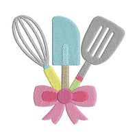 Kitchen utensils machine embroidery design by sweetstitchdesign.com