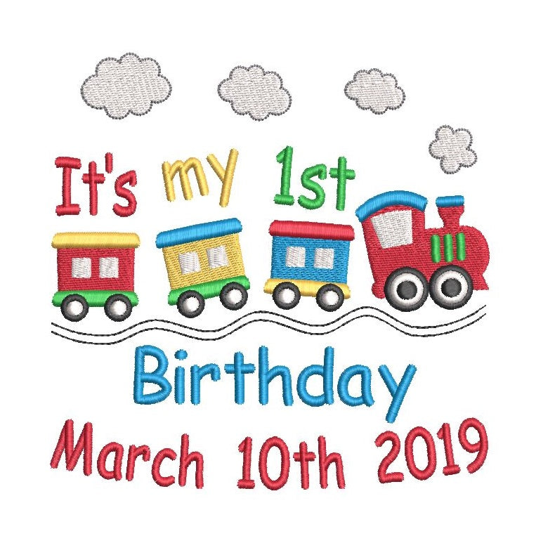 Birthday train machine embroidery design by sweetstitchdesign.com