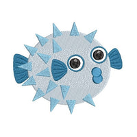 Mini fill stitch puffer fish machine embroidery design by sweetstitchdesign.com