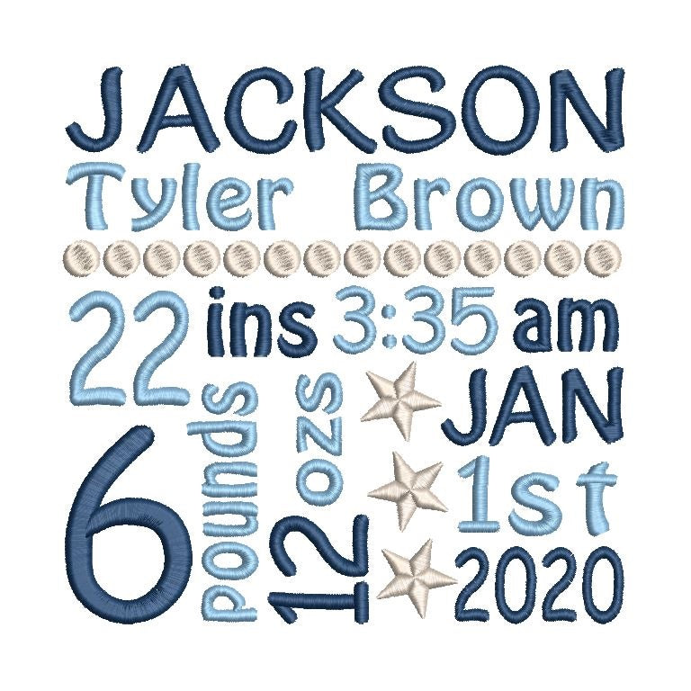 Baby birth announcement machine embroidery design by sweetstitchdesignembroidery.com.com