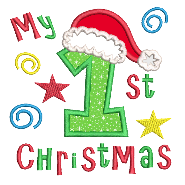 My 1st Christmas applique embroidery design by sweetstitchdesign.com