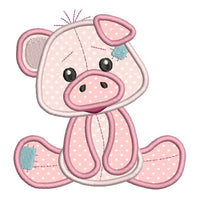 Sweet piglet applique machine embroidery design by sweetstitchdesign.com