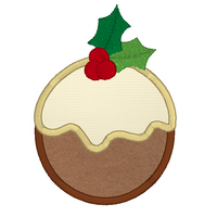 Christmas pudding applique machine embroidery design by sweetstitchdesign.com