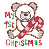 Christmas teddy applique machine embroidery design by sweetstitchdesign.com